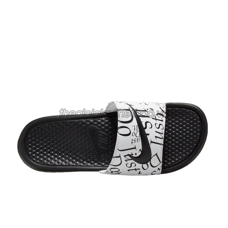 Dép Nike Benassi  Just Do It  Print Black White 631261-032 4