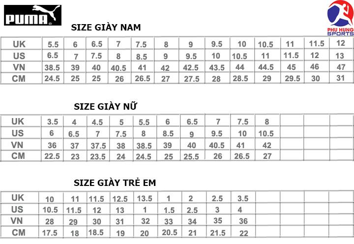 bảng đo size giày thể thao Puma